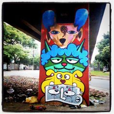 Graffiti by Ricardo AKN, Minhau and Chivitz @ under the railway line (Brás)