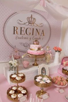 Sweets table at a royal pink and gold birthday party! See more party planning ideas at CatchMyParty.com!