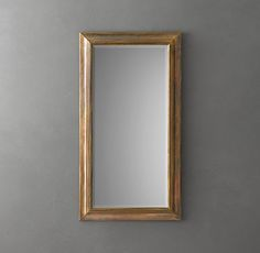 RH's English Aged Mirror:Like the English Arts & Crafts aesthetic that inspired it, our mirror displays elegant simplicity and craftsmanship, with a restrained wood-moulding frame wrapped in brass. Brass Mirror, Mirror Wall Art, Mirrors, Mirror Restoration, Restoration Hardware, Home Living Room, Living Spaces, Heritage Bathroom, Leaner Mirror