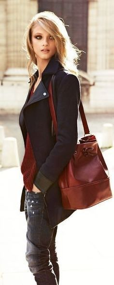 Love the wine color paired with black