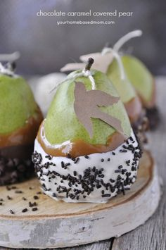 Chocolate Caramel Covered Pears - perfect for the first day of Christmas!  @ YourHomebasedMom.com