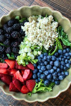 Triple Berry Salad with Sugared Almonds recipe from RecipeGirl.com #berry #salad #recipe #RecipeGirl