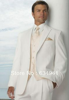 Free shipping/custom made top sell cheap groomsmen tuxedos/2014 new style ivory color wedding Groom wear dress/best Men's Suits