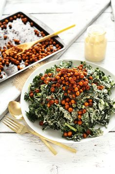 AMAZING Garlicky Kale Salad with Tandoori Spiced Chickpeas! 30 minutes and SO delicious! #vegan #glutenfree #minimalistbaker