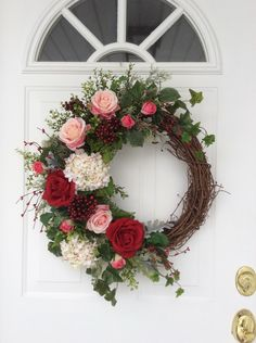 Valentine's Day Wreath-Spring Wreath-Wreath-Ivy Wreath-Rose Wreath-Front Door Wreath-Wedding Wreath-Mother's Day Wreath-Garden Wreath by ReginasGarden on Etsy https://www.etsy.com/listing/264380764/valentines-day-wreath-spring-wreath