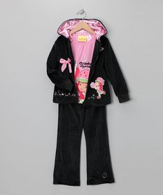 Black & Pink Shortcake Velour Zip-Up Hoodie Set - Girls   #zulily    #fall