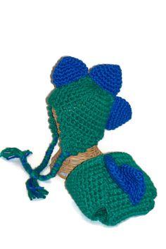 Infant Hat Stegosaurus Hat and Diaper Cover by lousknittingroom, $20.00