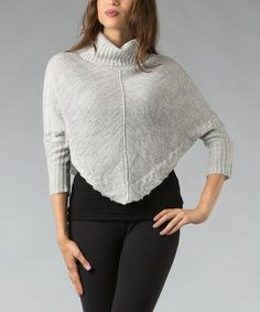 Take a look at this Gray Half-Sleeve Cropped Turtleneck Sweater by Pink Ocean on #zulily today! $18 !!
