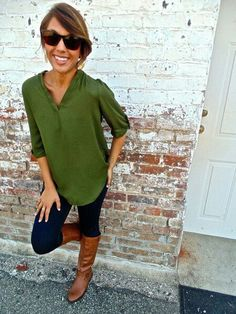 Green with brown boots