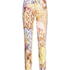 Just Cavalli - Floral-print Cotton-pique Slim-leg Pants ($183) ❤ liked on Polyvore featuring pants, multi, print pants, floral print trousers, slim leg pants, floral print pants and floral pattern pants