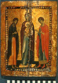 Kyriotissa with John the Baptist and George Byzantine Icons, Byzantine Art, Saint Catherine's Monastery, John The Baptist, Art Icon, Saint George, Orthodox Icons, Sacred Art, Illuminated Manuscript