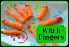 Healthy Halloween Snack: Witch Fingers Make knuckles while peeling, attach apple peel nails with peanut butter, cream cheese, or edible-sparkly gel.