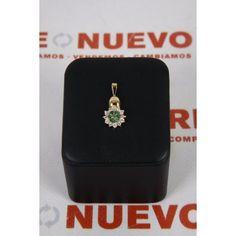 Colgante rosetón, oro con esmeraldas y circ. E260300I de segunda mano