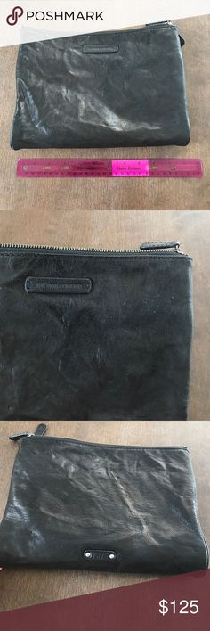 Frye compact wristlet/wallet Lightly used a couple of times - still in good condition with no major flaws. Only spots are shown in the second picture (little white dots). Hardly noticeable. Folds in half and has tons of pockets! Dimensions (when folded and clasped) 11 x 1.5 x 8 inches. Frye Bags Clutches & Wristlets