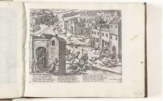 anoniem | Overval op Saint-Valery-sur-Somme, 1592, workshop of Frans Hogenberg, 1592 - 1612 | Overval op Saint-Valery-sur-Somme, 12 januari 1592. Soldaten doden burgers in de starten van de stad. Met onderschrift van 12 regels in het Duits. Ongenummerd.