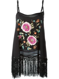 Twin-Set embroidered fringed cami top