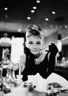 Audrey Hepburn in evening gloves and tiara in Blake Edwards' Breakfast at Tiffany's, 1961