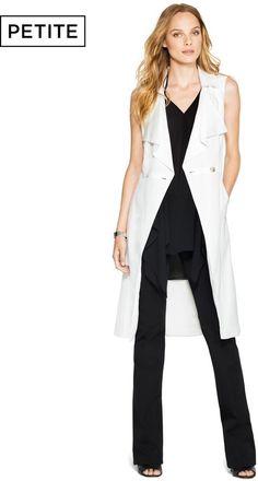 $160, White Sleeveless Coat: White House Black Market Sleeveless Trench. Sold by White House Black Market. Click for more info: https://lookastic.com/women/shop_items/299015/redirect