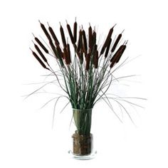 Silk Cattail Floral Arrangement | Overstock™ Shopping - Great Deals on Silk Plants