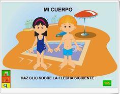 """""""Mi cuerpo"""" es una actividad interactiva, de la Red Escolar de Venezuela, para el aprendizaje de las partes del cuerpo humano y sus funciones principales, incluyendo los órganos de los sentidos. Para utilización individual o en pizarra digital."""