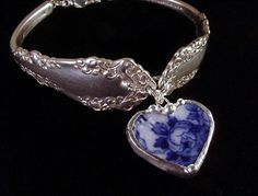 Antique Silver Spoon Bracelet with Broken China Jewelry flow blue Heart Charm by Laura Beth Love