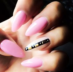 Long pink pointy nails