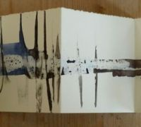 Soundmark Book, Handbound cover, watercolour paper,  watercolour, pastel, graphite stick