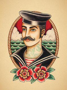 Sailor. Old School Tattoo print.