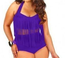 Plus Size Bikini Set Women Retro Padded Push Up Tassel High Waist Swimwear Swimsuit Bathing