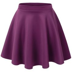 Lock and Love Womens Basic Versatile Stretchy Flared Skater Skirt ($11) ❤ liked on Polyvore featuring skirts, bottoms, flared skirt, flare skirt, stretch skirt, purple skirt and purple skater skirt