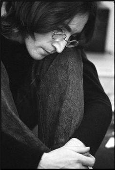 John Lennon, Listening to White Album, 1968.  Photo by Ethan Russell (b. 1945)