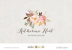 custom logo design watercolor flower logo floral by atelierabeille
