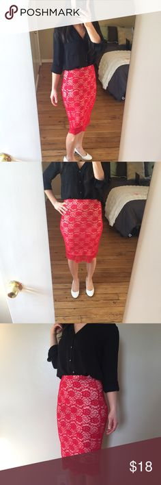 "Red Lace Lined Pencil Skirt by Material Girl NWT Body hugging pencil skirt that is great for curvy girls. Very pretty lace design. Fully lined. Elastic waist band stretches to either be high or low waisted skirt. This is a sexy skirt that is great for date night or a dress up occasion!  Brand-new with tags.  Shell: 49% cotton  44% nylon  7% spandex Lining:  100% polyester  Measurements: Length from waist 25.5"" Waist is 28"" Material Girl Skirts Pencil"