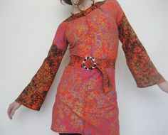 Orange Tunic womens belted tunic long bell sleeved by misskarret, $150.00