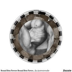 MAN CANDY FOR MEN Round Box Favors Round Box Favor with beautiful Original Art Drawing of a handsome male Body Builder, printed onto the top of the box, filled with delicious yummy Gum Sweets! Cool Gifts!! Per box (about 52-56 pieces) $7.85
