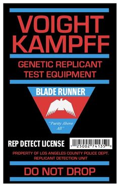 Voight Kampff License / Blade Runner