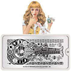Alice in Wonderland Nail Art, Stamping Plate Design Alice In Wonderland Nails, Adventures In Wonderland, Nail Art Stamping Plates, Nail Plate, Nagel Stamping, London Nails, Nail Art Images, Image Plate, Plate Design