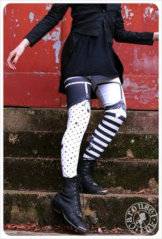 Garter Leggings - WHITE Black Striped Legging  - Polka Dot Striped Tights - SMALL Legging Womens Tights. $32,00, via Etsy.