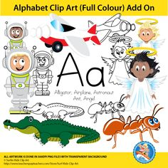 This alphabet clip art add-on, is to build onto the current set. The images are without text and can be used for any language. This package is for the letter Aa and contains the following images:  1. Alligator, 2. Airplane, 3. Astronaut, 4. Ant, 5. Angel  The angel and astronaut are multiracial and all images are in color and black and white.  7 Colored image  https://www.teacherspayteachers.com/Product/Alphabet-Clip-Art-Add-on-Aa-2731904