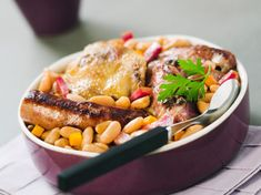 Le Cassoulet, Salmon Burgers, Coco, Sausage, Food And Drink, Turkey, Menu, Chicken, Vegetables