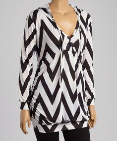 ~~pinned from site directly~~ . . . Look what I found on #zulily! Black & White Chevron Hooded Tunic - Plus #zulilyfinds