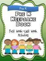 Pre-K Keepsake Book (First Week-Last Week Activities)