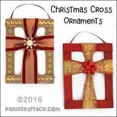 Christmas Cross Ornament Craft for Children's Ministry made from cardboard and Christmas ribbon from daniellesplace.com