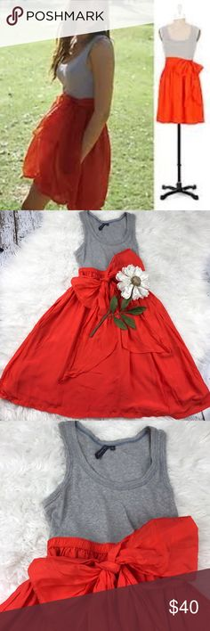 """💕SALE💕 Anthropologie Color Block Silk Dress Gorgeous Anthropologie Color Block Silk Dress with Pockets easy to Dress up or wear Casual Super Cute and so Comfortable 36"""" from the top of the shoulder to the bottom 17"""" from armpit to armpit Elastic waistband with Adorable Tie Anthropologie Dresses"""