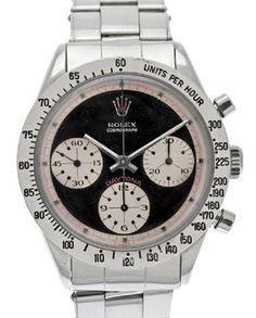 Vintage Paul Newman Daytona Rolex chronograph watch in stainless steel; $10,000-$80,000 #PaulNewman #Rolex #stainlesssteel