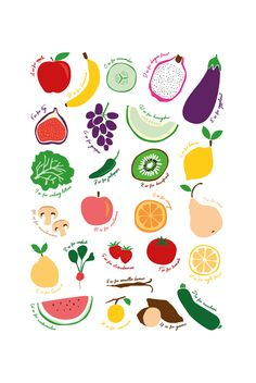 A3 and A2 ABC Fruit & Vege prints available to buy from www.designbycheyney.com - Downloadable print your own file - Great gift for little ones to learn more about fruits and vegetables. #print #homedecor #illustration
