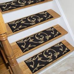 Bring a timeless look to your home with the help of this Ottomanson Ottohome Collection Black Polypropylene Stair Tread. Carpet Stair Treads, Carpet Stairs, Stair Mats, Tile Steps, Black Stairs, Old Tires, Recycled Rubber, Natural Rug, Old World Charm