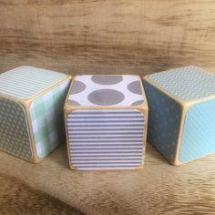 Good Morning!  Green, grey & blue color combo now available for custom orders! Email me at sweetbblocks@gmail or DM me for ordering.  #sweetbblocks #newcolors #handmade #babyblocks #toddlerblocks #childrenblocks #blocks #nameset #decor #personalize #polkadots #stripes #chevron #plaid