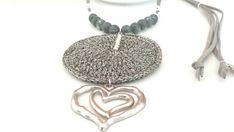 Artesanales collares con colgante corazón crochet collares