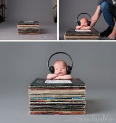 Newborn Photography Props Music Headphones Records